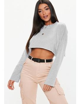 Gray Loopback Cropped Sweatshirt by Missguided