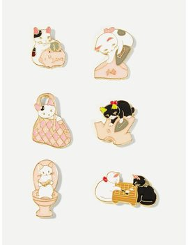 Cat Design Brooch Set 6pcs by Sheinside