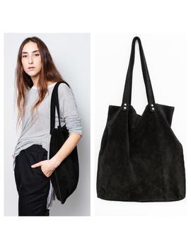 Black Suede Leather Tote Bag,Large Black Bag,Black Shoulder Suede Tote Bag by Etsy