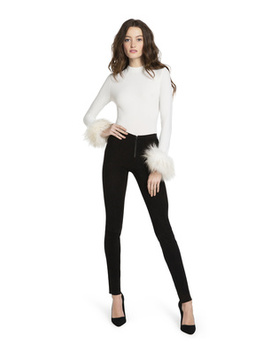 Haylen Fur Cuff Mock Neck Top by Alice And Olivia
