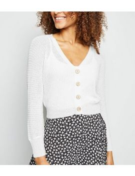 Cream Pointelle Knit Crop Cardigan by New Look