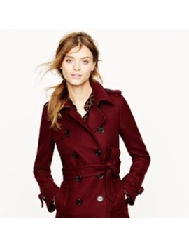 J Crew Wool Cashmere Trench Oxblood 00 by J. Crew