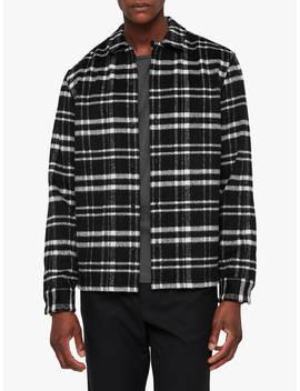 All Saints Racine Long Sleeve Flannel Check Shirt, Black/Ecru by All Saints