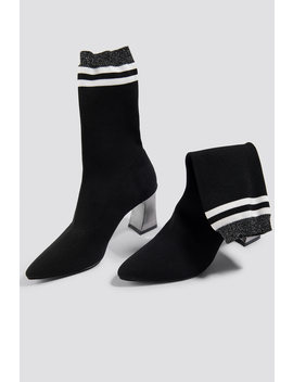 Striped Metallic Heel Sock Boots by Na Kd Shoes