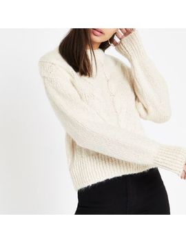 Cream Cable Knit Crew Neck Jumper by River Island