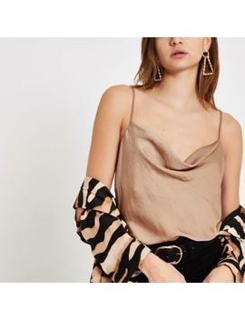 Beige Cowl Neck Cami Top by River Island