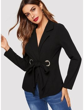 Notch Collar Grommet Knot Front Fitted Blazer by Shein