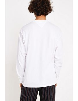 Tommy Jeans Embroidered Box Logo White Long Sleeve T Shirt by Tommy Jeans