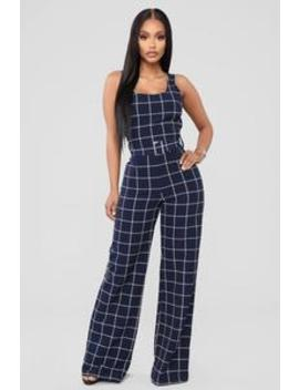 See It My Way Jumpsuit   Navy/White by Fashion Nova