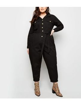 Curves Black Pocket Front Button Through Jumpsuit by New Look