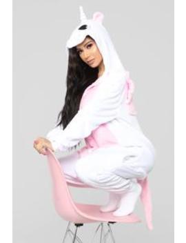 Unicorn Dreams Pj Onesie   White/Pink by Fashion Nova