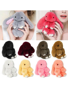 Bunny Rex Rabbit Fur Bag Handbag Keychain Pom Doll Ball Key Chain Ring Pendant by Ebay Seller
