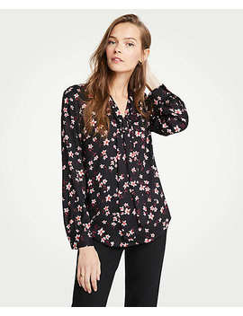 Romantic Flower V Neck Bow Blouse by Ann Taylor