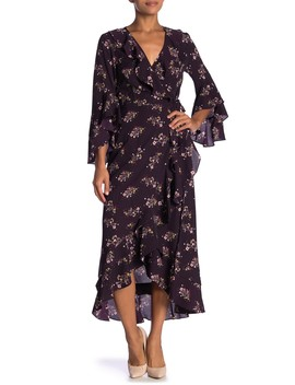 Surplice V Neck Bell Sleeve Print Hi Lo Dress by Max Studio