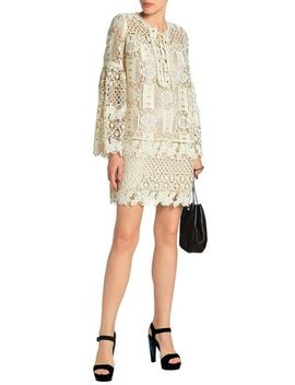 Lace Up Guipure Lace Mini Dress by Anna Sui