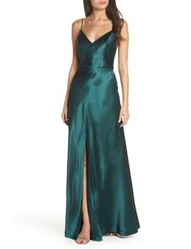 Dina V Neck Satin Crepe Gown by Jenny Yoo