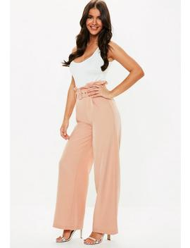 Petite Peach Paper Bag Waist Bag Trousers by Missguided