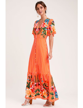 Roam The Riviera Orange Multi Striped Button Up Maxi Dress by Lulus