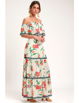 Cancun Cutie Ivory Floral Print Off The Shoulder Maxi Dress by Lulus
