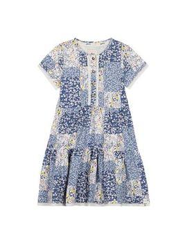 Mantaray   Girls' Blue Floral Print Tiered Dress by Mantaray