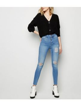Blue High Waist Super Skinny Ripped Hallie Jeans by New Look