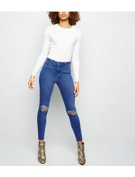 Blue High Rise Ripped Super Skinny Dahlia Jeans by New Look