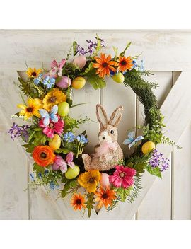 "Faux Mixed Wild Flowers &Amp; Bunny 21"" Wreath by Pier1 Imports"