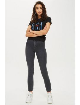 Petite Washed Black Joni Jeans by Topshop