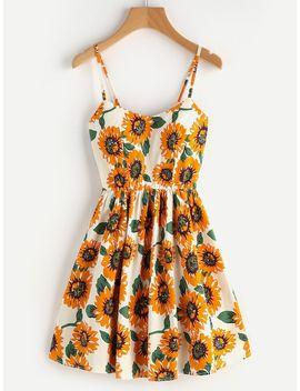 Random Sunflower Print Crisscross Back A Line Cami Dress by Shein