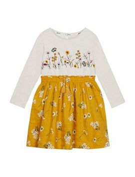 Mantaray   Girls' Multicoloured Floral Embroidered Dress by Mantaray