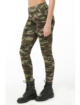 Camo Print Skinny Ankle Zip Pants by Forever 21