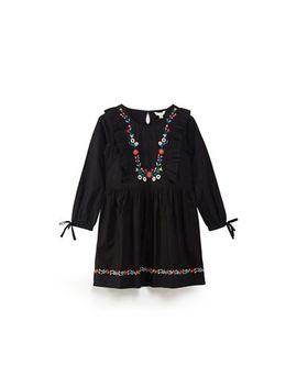 Yumi Girl   Girls' Black Cotton Floral Embroidered 'daezha' Dress by Yumi Girl