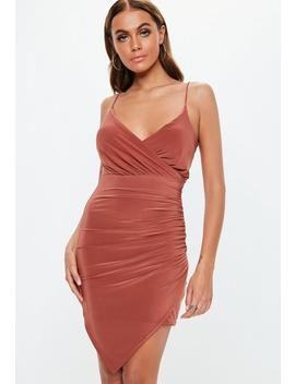 Rust Strappy Slinky Ruched Mini Dress by Missguided