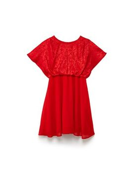 Yumi Girl   Red Floral Jacquard 'branda' Party Dress by Yumi Girl