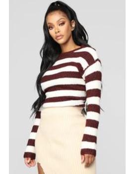 Cozy Stripes Sweater   Wine by Fashion Nova