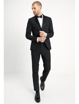 Basic Plain Black Tux Suit Slim Fit   Anzug by Isaac Dewhirst