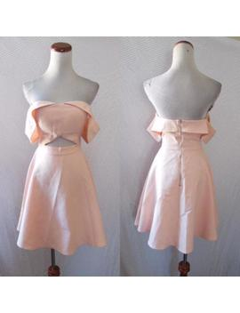 New Few Moda Peachy Pink Off The Shoulder Cutout Bardot Fit & Flare Dress S by Few Moda