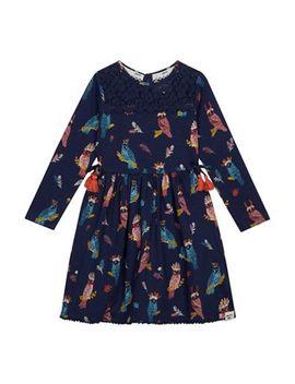 Mantaray   Girls' Navy Owl Print Jersey Dress by Mantaray