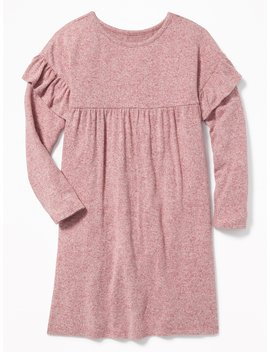 Plush Knit Ruffle Trim Swing Dress For Girls by Old Navy