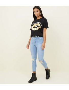 Petite Bright Blue Ripped Skinny Jeans by New Look