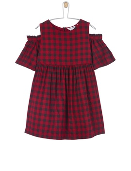 **Girls Red Checked Cold Shoulder Dress (5   12 Years) by Dorothy Perkins