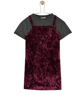 **Girls Pink Velvet Dress And T Shirt Set (18 Months   6 Years) by Dorothy Perkins