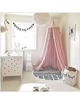 Kunmuzi Children Bed Canopy Round Dome, Nursery Decorations, Cotton Mosquito Net, Kids Princess Play Tents, Room Decoration For Baby (Pink) by Kunmuzi