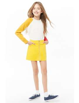 Girls Corduroy Zip Front Mini Skirt (Kids) by Forever 21