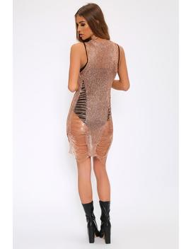 Rose Gold Metallic Distressed Knitted Dress by I Saw It First