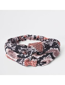 Pink Snake Print Twist Headband by River Island