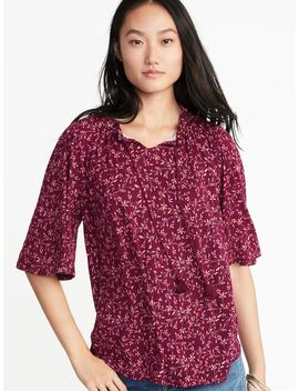 Printed Split Neck Bell Sleeve Top For Women by Old Navy