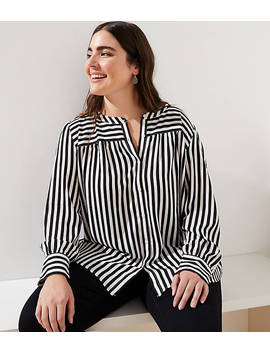 Loft Plus Mixed Stripe Puff Sleeve Blouse by Loft