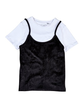**Girls Black Velvet Top (5   12 Years) by Dorothy Perkins