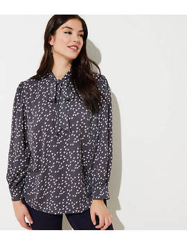 Loft Plus Hen Tie Neck Blouse by Loft